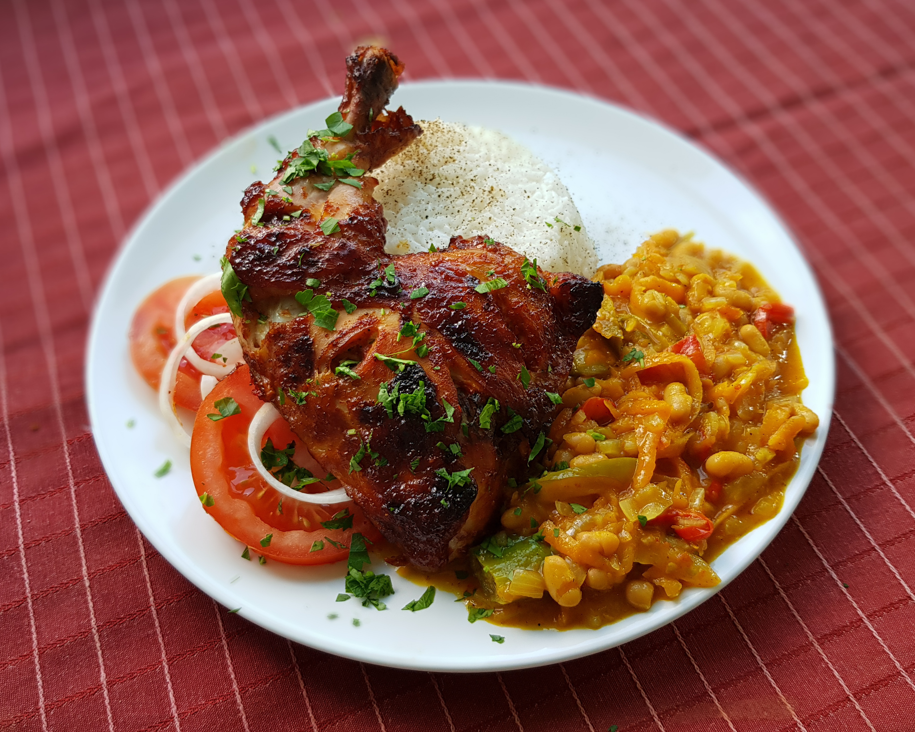 South African Food - Peri-Peri Chicken, Chakalaka and Rice
