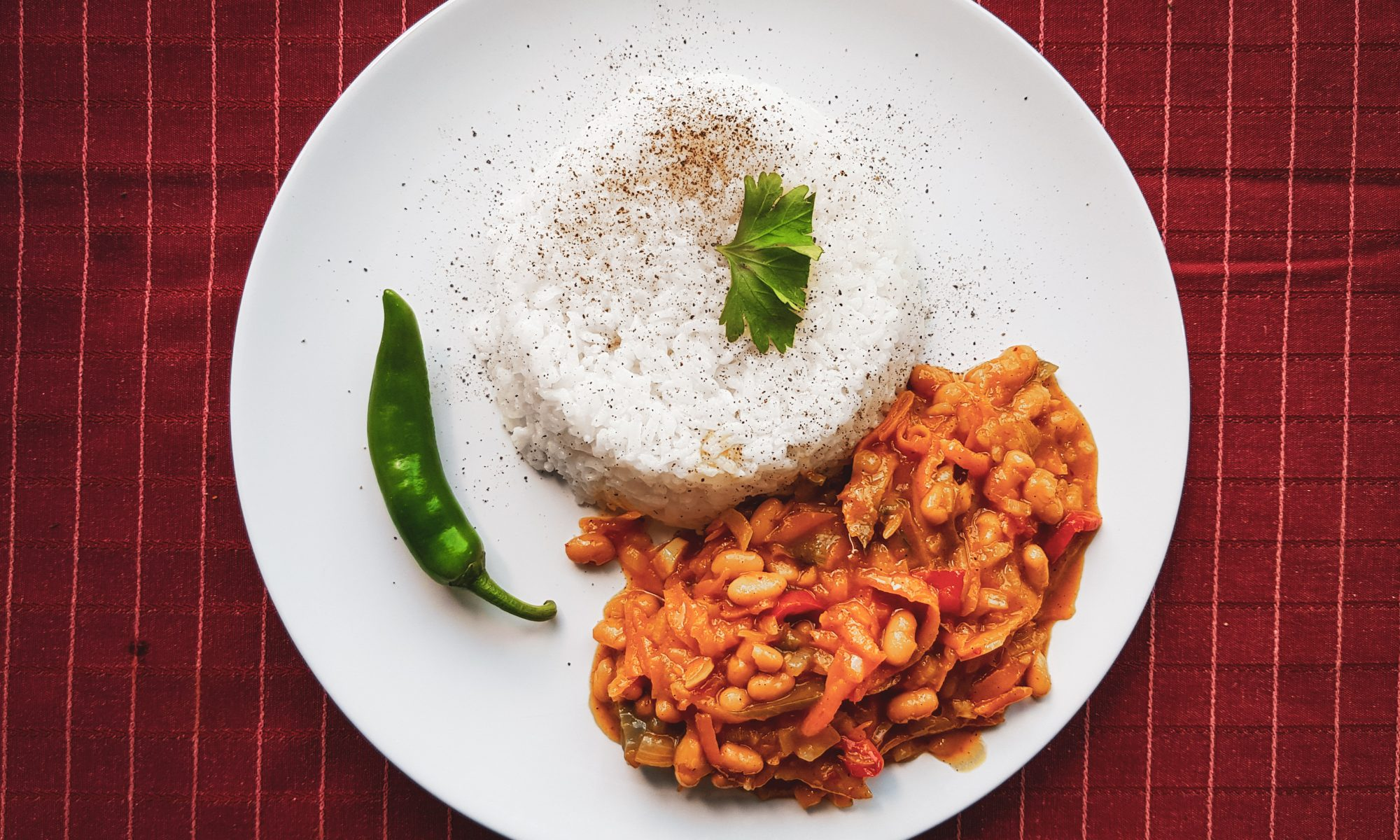 South African Food - Chakalaka and Rice