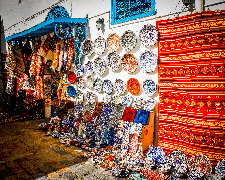 Tunisia - Sidi Bou Said - Plates and Tangines for Sale